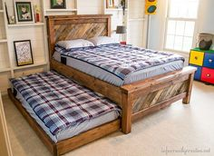 DIY Farmhouse Pallet Bed – with a rolling trundle!  This DIY project comes with a complete supply list and cut list.  Dreamitforward MakeADreamHappen AD