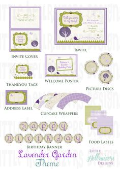 Lavender Garden Themed Party Printable Package - PDF. $20.00, via Etsy.
