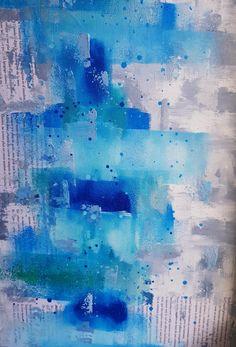 In My Studio... Painting // Les Fleurs du mal - détail - Peinture et collage réalisée au rouleau et au couteau.