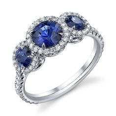 Omi Privé Sapphire and Diamond 3-Stone www.saturnostore.com