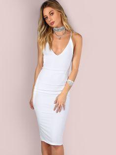 Sleek Bodycon Dress 2017 Women Ivory Brief Slim Sexy Cami Summer Party  Dresses Fashion Elegant Sleeveless Midi Dress d5b2849b92b