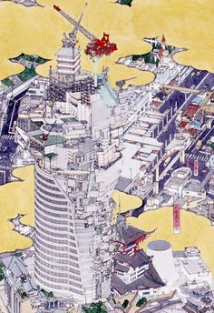 Field Of Vision: Akira Yamaguchi Japan Architecture Modern, Architecture Artists, Architecture Collage, Architecture Drawings, Landscape Architecture, Japanese Painting, Japanese Art, Japanese Style, Axonometric Drawing