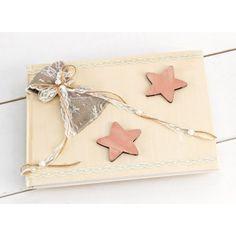 Βιβλίο Ευχών για κορίτσι  με Vintage ξύλινα αστεράκια ροζ και διακόσμηση με λινάτσα,δαντέλα και πέρλες. Continental Wallet, Bags, Vintage, Handbags, Vintage Comics, Bag, Totes, Hand Bags