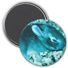 Faux Blue Bunny Refrigerator Magnets #zazzle #magnet #blue #bunny