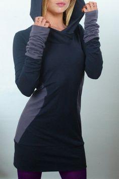 Stylish Hooded Long Sleeve Color Block Slimming Women's Hoodie