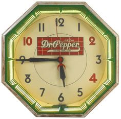 Dr. Pepper neon clock, mfgd by Neon Products Inc