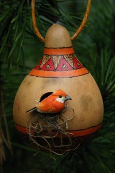 Items similar to Rustic Gourd Ornament, Southwest Style Birdhouse, Orange and Red Bird House Ornament on Etsy Decorative Gourds, Hand Painted Gourds, Wood Bird, Metal Birds, House Ornaments, Christmas Ornaments, Gourds Birdhouse, Birdhouses, Modern Dollhouse