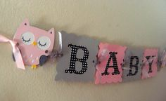 Owl Baby Shower Banner  Pink Grey and Black Polka by wittypaper