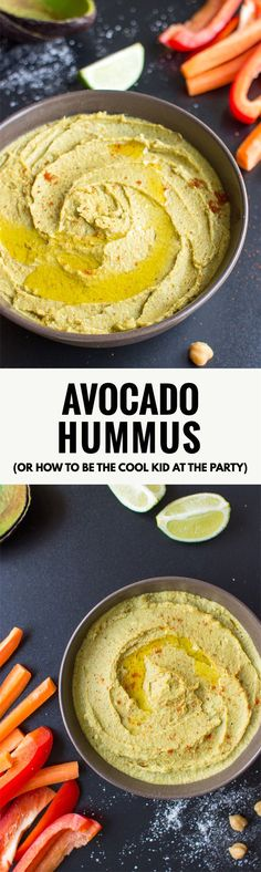 Avocado Hummus (or how to be the cool kid at the party) – Ready in 10 mins Yummy Avocado Hummus - creamy than hummus and tastier than avocado, this easy dip combines the best of both for a delicious snack or great party idea! Avocado Hummus, Avocado Toast, Hummus Salad, Avocado Salad, Veggie Recipes, Vegetarian Recipes, Cooking Recipes, Healthy Recipes, Avocado Recipes