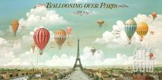 Ballooning Over Paris Art Print by Isiah and Benjamin Lane at Art.com