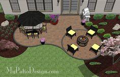 "Curvy Backyard Patio - Patio Designs & Ideas Plan 1113rr  333 sq. ft. of Outdoor Living Space (OAL 22'-9"" x 30'-2"")"