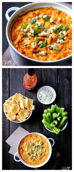 Skinny Buffalo Chicken Dip -- the famous dip we all love, with less of the usual calories! gimmesomeoven.com #appetizer #dip #recipe