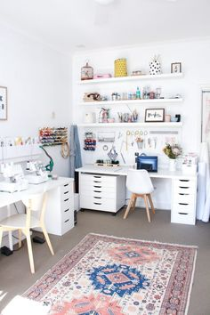 A tour of Megan Nielsen's workroom // A stylish home office with multiple workspaces included sewing space Study Room Decor, Craft Room Decor, Craft Room Storage, White Craft Room, Craft Room Shelves, Pegboard Craft Room, Ikea Craft Room, Small Craft Rooms, Craft Desk