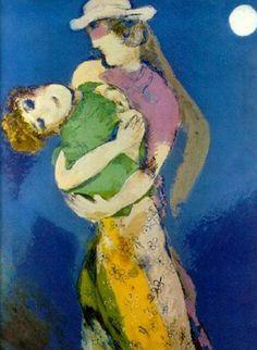 #Marc-Chagall #MarcChagall #Chagall Marc Chagall, Amanti al chiaro di luna