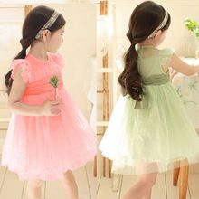 2015 New Kids clothes fashion vestido infantil Baby Girls lace cute Sleeveness Tulle Party Dress Princess Dress Bubble dresses(China (Mainland))