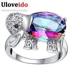 Find More Rings Information about Silver Jewelry Elephant Multi Colorful Mystic Topaz CZ Gemstone Rings for Women Party Ring Joias Ulove J484,High Quality ring form,China ring moon Suppliers, Cheap ring spun from ULOVE No.2 Fashion Jewelry Store  on Aliexpress.com