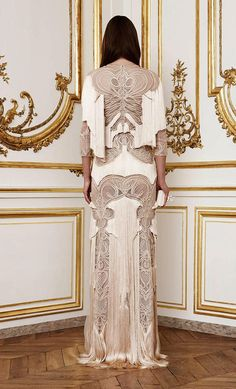 Givenchy Paris draped fringed gown from Fall 2010, but with authentic Art Nouveau motifs. Designed by Ricardo Tisci.