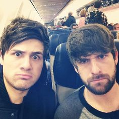 Ian Hecox and Anthony Padilla on an airplane.. are they confused..? Cause the look like they are!