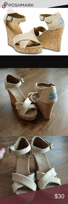 """TOMs Sierra Burlap Natural Strappy Wedges In EUC! Cork Wedge Heel approx 3.5"""" Goes with everything! Perfect item for a variety of outfits from toothpick pants to summer dresses! TOMS Shoes Wedges"""