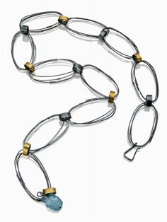 """NK110 Scribble chain necklace $990 26"""" long with aquamarine bead oxidised silver 22k gold"""