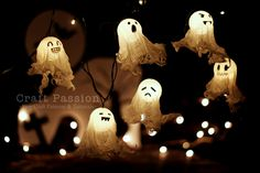 "Halloween Ghost Lights  Make: 6    Materials:  1. Ping Pong Ball – 6  2. Gauze pads [4""x4"", 8 ply] – 6 pcs. Or loose woven cheesecloth  3. Mod Podge or any PVA white craft glue  4. Holiday lights – single yellow color    Tools:  1. Permanent black marker  2. Awl or craft knife  3. Egg crate  4. Masking Tape  5. Clean empty container and spoon"