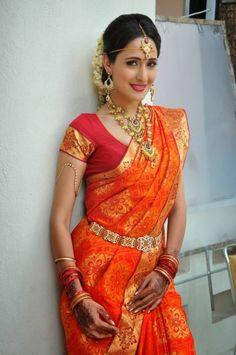 This Dark Red Orange Colour Saree is Very Beautiful. This is South Indian Actress Payal Jaiswal Photo. On This Bridal Saree Zari Border is. Saris, Indian Beauty Saree, Indian Sarees, Silk Sarees, Indian Wedding Sari, Indian Bridal, Wedding Sarees, India Wedding, Desi Wedding