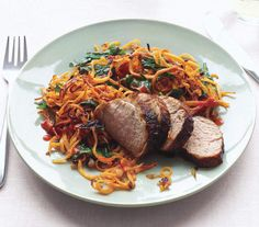 Chili-Glazed Pork With Sweet Potato Hash | Trying to cut back? These tasty dinners all clock in at less than 400 calories per serving.