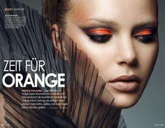 Tendencia de maquillaje de noche look orange