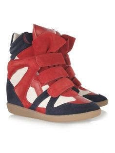 best service 43e05 6a5c7 Isabel Marant Bekket High-Top Suede Sneakers in RedWhite Red Wedge Sneakers ,