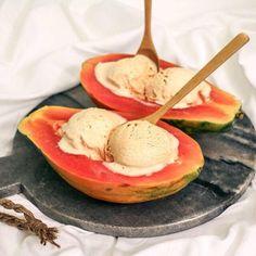 Home made fudge ice cream and watermelon