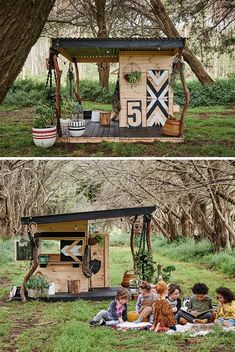 Scouted: Australia's best cubby houses - We Are Scout - wooden cubby house. *The roof on this looks SUPER easy! Wood frame with tin on top! Kids Cubby Houses, Kids Cubbies, Play Houses, Backyard Playhouse, Build A Playhouse, Casas Containers, Outdoor Play Spaces, Backyard For Kids, Garden Kids