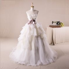 Strapless Ball Gown Tulle wedding dress
