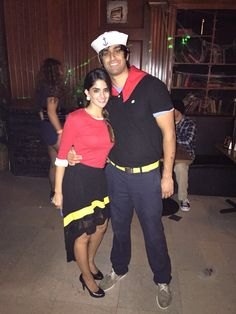 Popeye and olive oil. Halloween 2014. Simple and super cheap to put together. No need to buy a insanely costly costume for this theme.