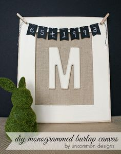 Moss-covered bunny! (This page only has diy info for the monogrammed canvas)