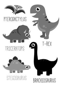 Poster Dinosaurus zwart-wit A3 Leuke kinderkamer poster in A3 formaat met vijf verschillende dino's.  kinderkamer babykamer jongens jongenskamer