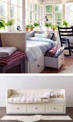 HEMNES Daybed frame with 3 drawers IKEA Sofa, single bed, bed for two and storage in one piece of furniture. Ikea Hemnes Daybed, Hemnes Day Bed, Ikea Sofa, Ikea Malm, Ikea Bedroom Design, Bedroom Decor, Bedroom Ideas, Bed Ideas, Lit Banquette 2 Places