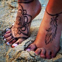 henna feather tattoo on foot
