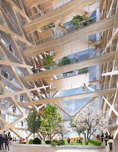 The Tallest Timber Tower Yet: Perkins + Will's Concept Proposal for River Beech Tower,Atrium. Image Courtesy of River Beech Tower Timber Architecture, Timber Buildings, Amazing Architecture, Contemporary Architecture, Architecture Design, Modern Buildings, Landscape Architecture, Atrium, Wooden Skyscraper