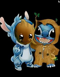Disney Drawing Stitch and baby Groot cosplay as each other. {Lilo and Stitch, Guardians of the Galaxy} - Disney Stitch, Lilo Y Stitch, Cute Stitch, Kawaii Disney, Disney Art, Cute Disney Drawings, Kawaii Drawings, Cartoon Drawings, Cute Drawings