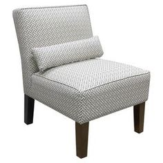 """Accent chair with an interlocking motif and bolster pillow. Handmade in the USA.    Product: Chair    Construction Material: Wood and fabric    Color: Charcoal     Features:   Handmade in the USA   Pillow includedPerfect accent for any decor         Dimensions: 33"""" H x 25"""" W x 32"""" D    Note: Some assembly required   Cleaning and Care: Spot clean only"""