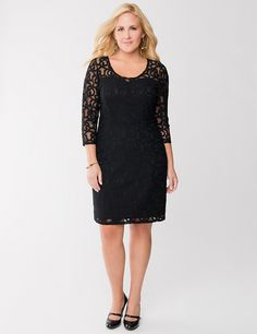 Full Figure Lace Illusion Dress | Lane Bryant