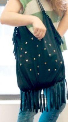 tshirt to fringed bag