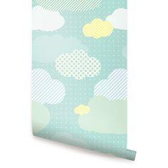 Nuages menthe Peel & Stick tissu papier peint repositionnable