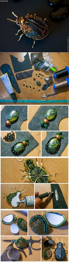 Beaded beads tutorials and patterns, beaded jewelry patterns, wzory bizuterii koralikowej, bizuteria z koralikow - wzory i tutoriale Beaded Brooch, Beaded Jewelry, Handmade Jewelry, Jewellery, Beading Projects, Beading Tutorials, Embroidery Jewelry, Beaded Embroidery, Jewelry Patterns