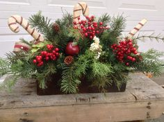 Rustic Christmas Centerpiece- Candy Cane Christmas Arrangement- Christmas Table Decor- Holiday Arrangement-FlowerPowerOhio by FlowerPowerOhio on Etsy