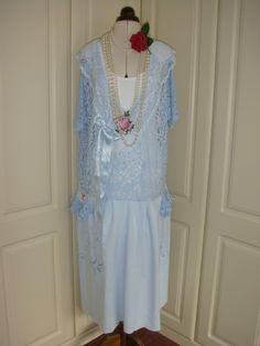 China Blue XXL Drop Waist 1920's Style Vintage by PrettyUnusuall