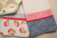 Great housewarming or birthday gift. Set of 2 Blue and Pink Floral Tea Towels from CozyByChristine.com