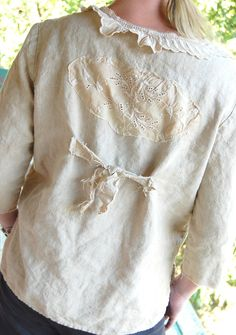 Heavy Linen Pullover Tunic Wheat Color Shabby Vintage Crochet Doily Rustic Tattered Edges Altered Clothing Upcycled Prairie Gypsy Cowgirl.