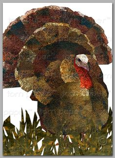 """Happy Thanksgiving  TURKEY Greeting Card 2013 - 5""""x7"""" Collage ART Card - frame-able print (CTHA201202) on Etsy, $4.00"""