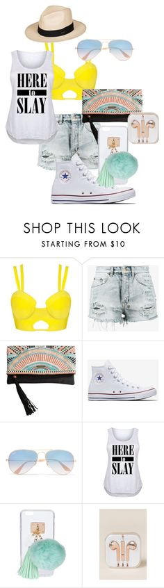 """Summer"" by zarihayden ❤ liked on Polyvore featuring Ksubi, Rip Curl, Converse, Ray-Ban, Ashlyn'd, OK Originals and Roxy"